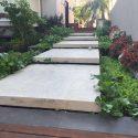 עיצוב כניסת בית בשילוב צמחייה ייחודית ומדרגות אבן